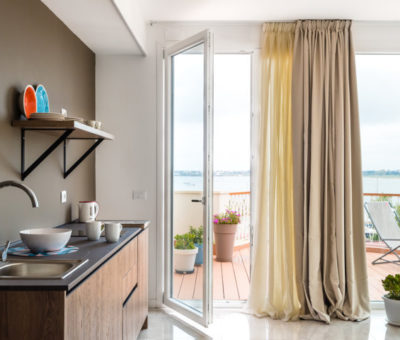 kitchen with a view from the deluxe two-room apartment with jacuzzi